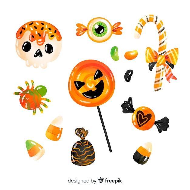 Aquarell halloween-süßigkeitssammlung Kostenlosen Vektoren