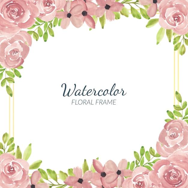 Aquarell handgemaltes rosa rosenblumenrahmenquadrat Premium Vektoren