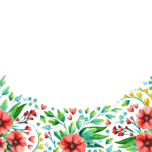 Aquarell handgezeichnete frühlingsblumen - leerer quadratischer rahmen. Kostenlosen Vektoren