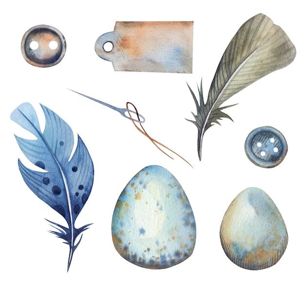 Aquarell handgezeichnete schneiderei mit knöpfen, nadel, feder und eiern., papieretikett. Premium Vektoren