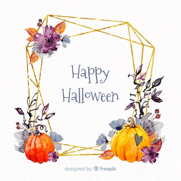 Aquarell happy halloween rahmen Kostenlosen Vektoren