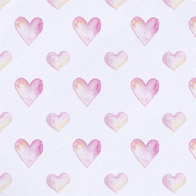 Aquarell Herzen Muster Hintergrund | Download der kostenlosen Vektor
