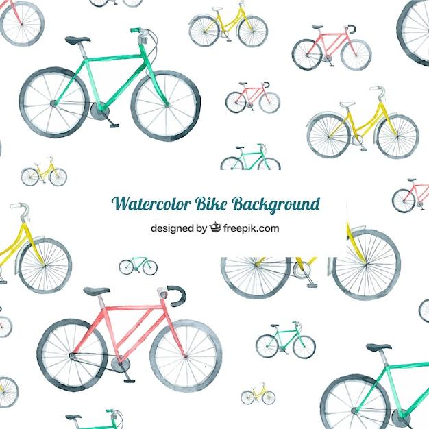 Aquarell hintergrund mit bunten fahrrädern Kostenlosen Vektoren