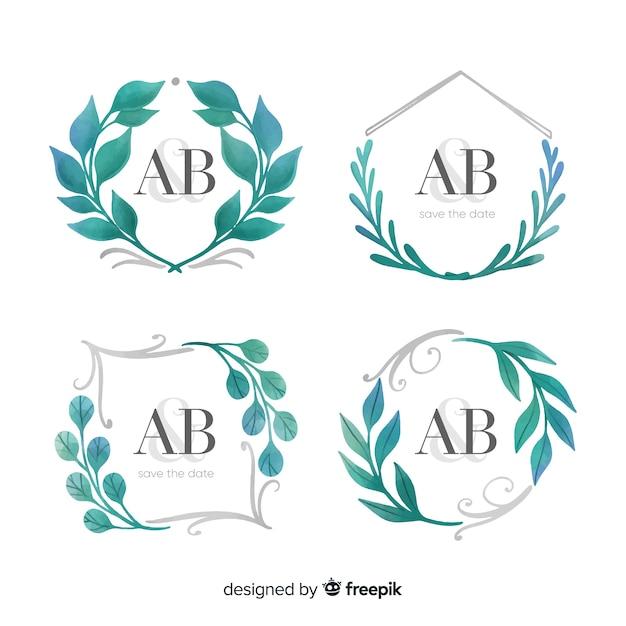 Aquarell hochzeit frame logo sammlung Kostenlosen Vektoren