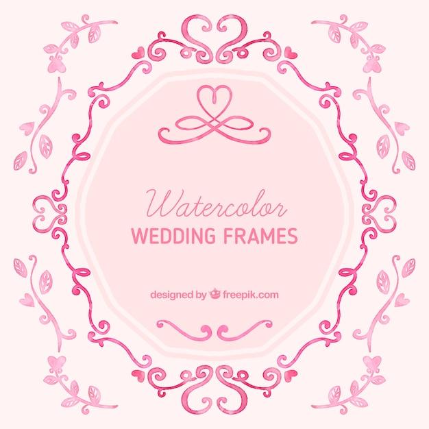 Aquarell-Hochzeits-Frames | Download der kostenlosen Vektor