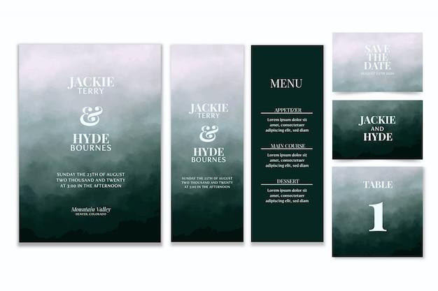 Aquarell hochzeitsbriefpapier Premium Vektoren