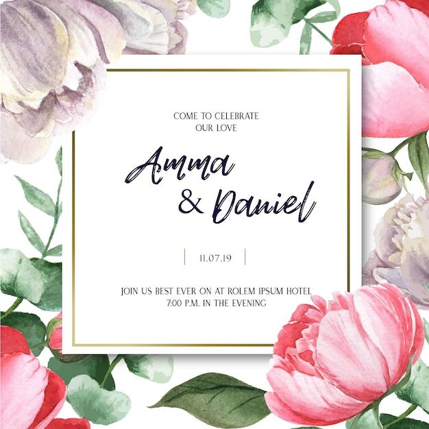 Aquarell-hochzeitskarten-blumenaquarell der rosa pfingstrosen-blühenden blume botanischer Kostenlosen Vektoren