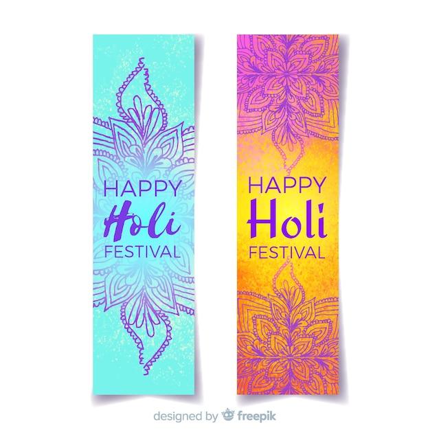Aquarell holi festival banner Kostenlosen Vektoren