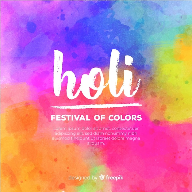Aquarell holi festival hintergrund Kostenlosen Vektoren