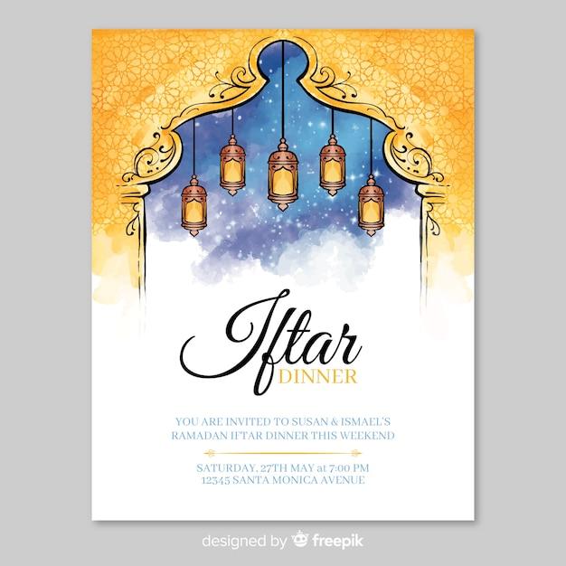 Aquarell iftar einladungsschablone Kostenlosen Vektoren