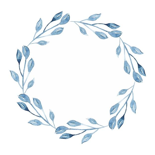 Aquarell-indigo-blumenkranz mit zweig-, niederlassungs- und zusammenfassungsblättern Kostenlosen Vektoren