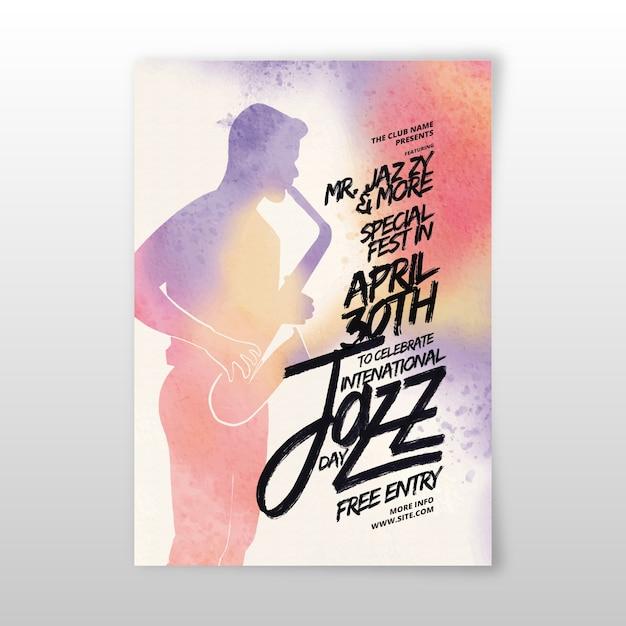 Aquarell internationale jazz-tagesplakatschablone Kostenlosen Vektoren