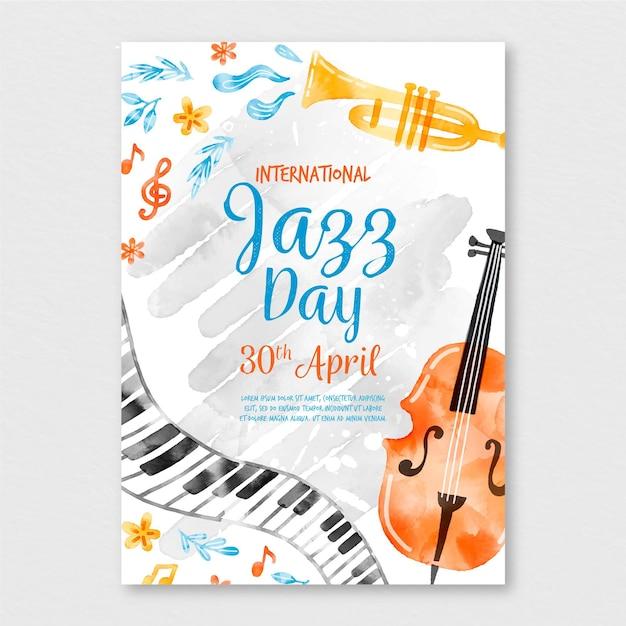 Aquarell-internationale jazz-tagesplakatschablone Kostenlosen Vektoren