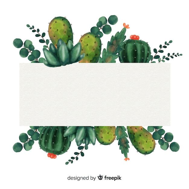 Aquarell kaktus hintergrund Kostenlosen Vektoren