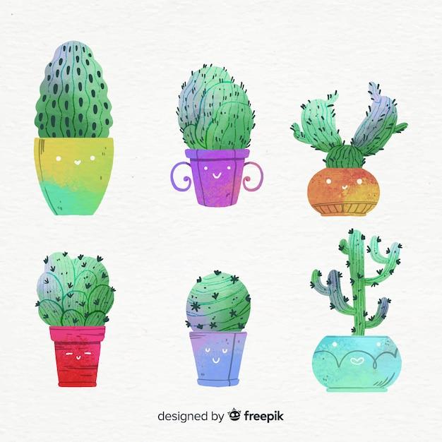 Aquarell-kaktus-sammlung Kostenlosen Vektoren