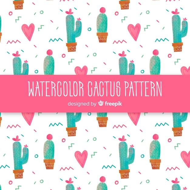 Aquarell kaktusmuster Kostenlosen Vektoren