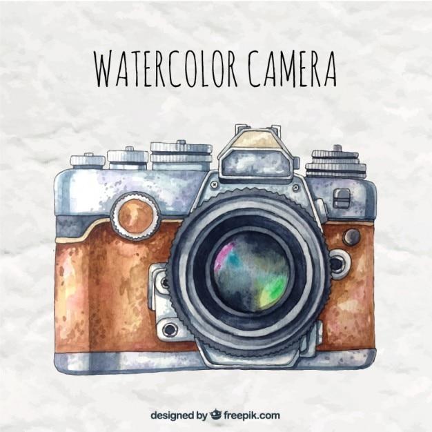 Aquarell-kamera im retro-stil Premium Vektoren