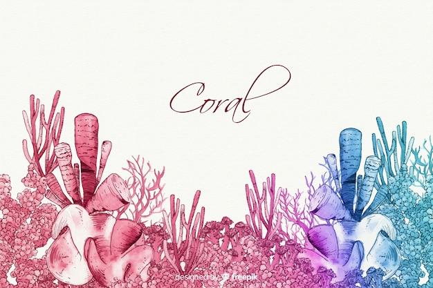 Aquarell korallen hintergrund Kostenlosen Vektoren