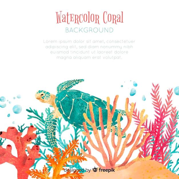 Aquarell korallen hintergrundvorlage Kostenlosen Vektoren