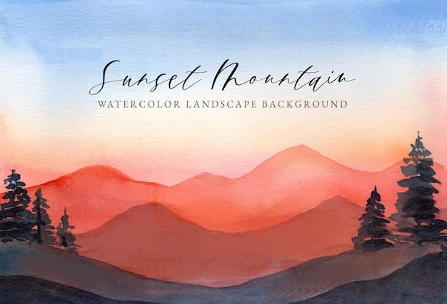 Aquarell landschaft hintergrund sonnenuntergang berg Premium Vektoren