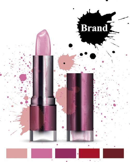 Aquarell lippenstift kosmetik Premium Vektoren
