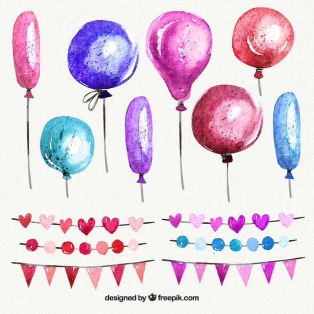 Aquarell luftballons und girlanden in den rosafarbenen tönen Kostenlosen Vektoren
