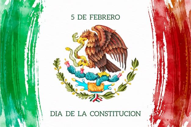 Aquarell mexiko verfassungstag Kostenlosen Vektoren