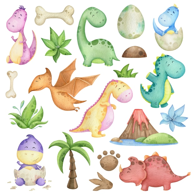 Aquarell mit dinosauriern und designelementen Premium Vektoren