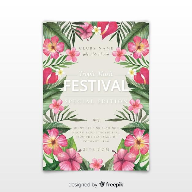 Aquarell musik festival poster vorlage Kostenlosen Vektoren