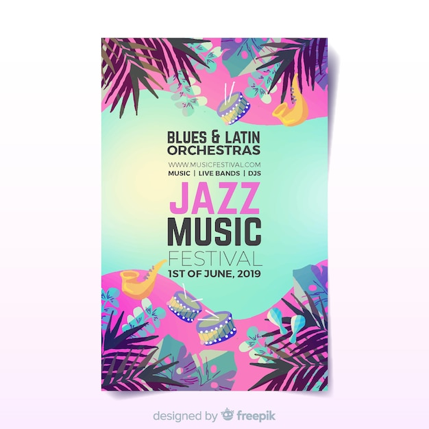 Aquarell musik festival poster Kostenlosen Vektoren