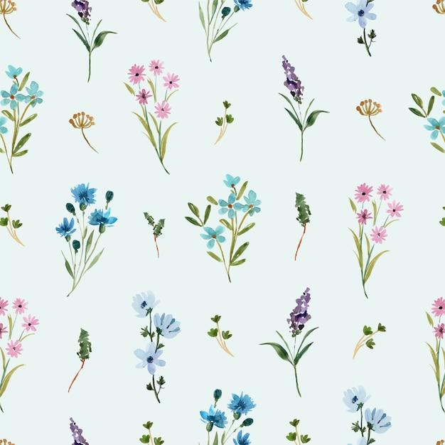 Aquarell nahtloses muster mit blauen und lila wildblumen Premium Vektoren