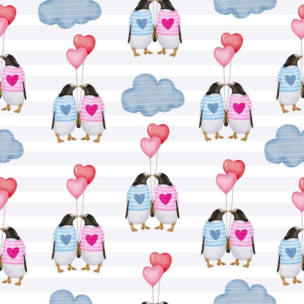 Aquarell nahtloses muster mit liebesobjekt, isoliertes aquarell-valentinsgrußkonzeptelement reizende romantische rot-rosa herzen für dekoration, illustration. Kostenlosen Vektoren