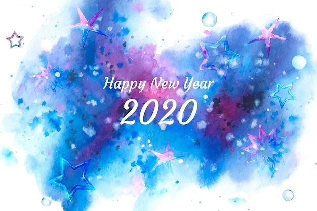 Aquarell neujahr 2020 hintergrund Kostenlosen Vektoren