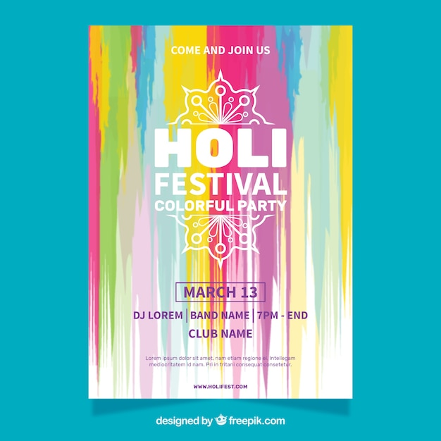 Aquarell party poster für holi festival Kostenlosen Vektoren