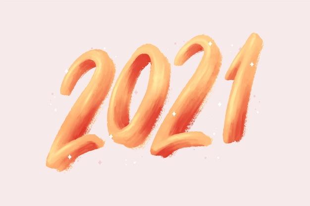 Aquarell pinselstrich neujahr 2021 hintergrund Kostenlosen Vektoren