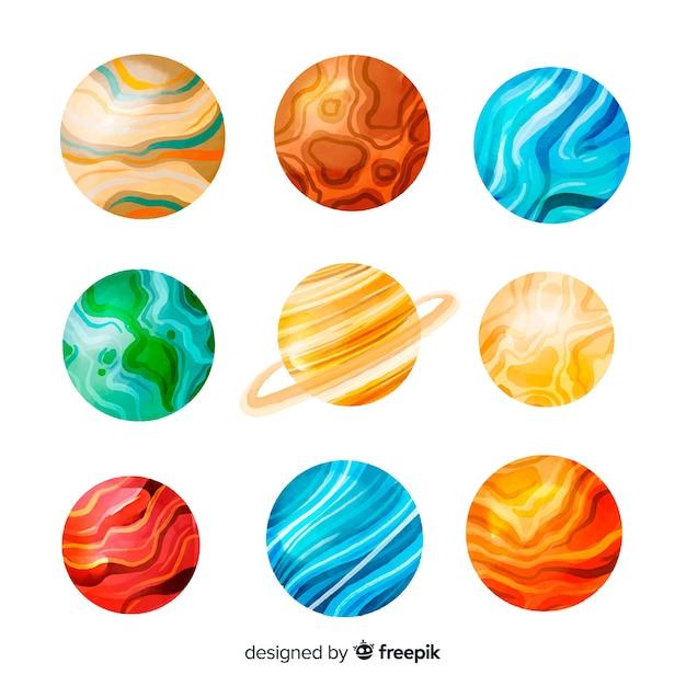 Aquarell planeten der kosmos-sammlung Kostenlosen Vektoren