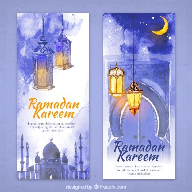 Aquarell ramadan flyer Kostenlosen Vektoren
