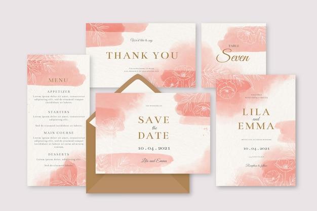 Aquarell rosa hochzeitsbriefpapier einladung Kostenlosen Vektoren