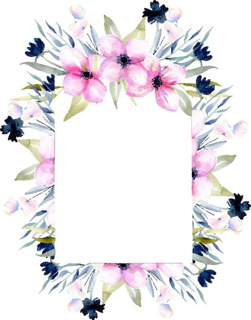 Aquarell rosa und blau Wildblumen und Feld Gräser Rahmen | Download ...