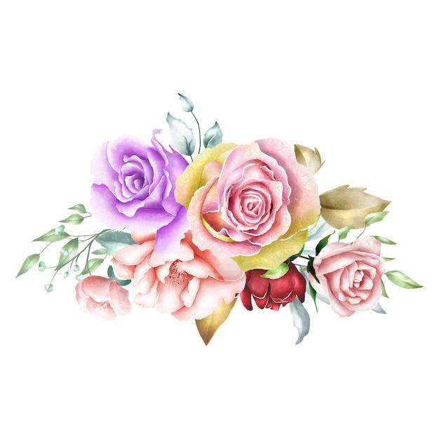Aquarell rose bouquet hintergrund Premium Vektoren