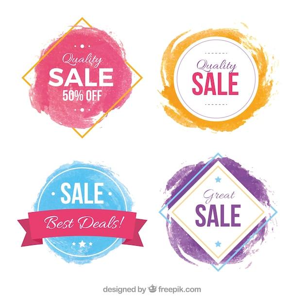 Aquarell sales label-sammlung Kostenlosen Vektoren