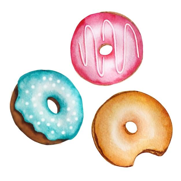 Aquarell-satz von drei runden donuts der verschiedenen farben auf einer weißen hintergrundhand gezeichnet Premium Vektoren