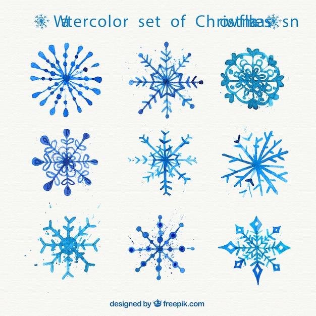 Aquarell satz von weihnachten schneeflocken download der - Aquarell weihnachten ...
