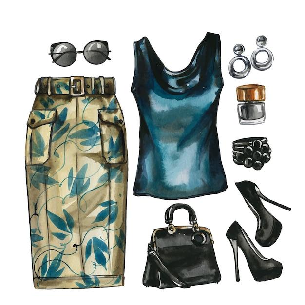 Aquarell set glamour kleidung, schuhe und tasche für frauen. elegante outfit-illustration. hand gezeichnetes gemälde der stoffsammlung. kleiderschrank moodboard Premium Vektoren
