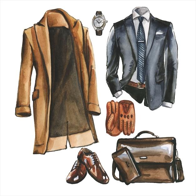 Aquarell-set von geschäfts-freizeitkleidung, schuhen und tasche für mann. corporate outfit illustration. hand gezeichnete malerei des büroartblickes. garderobenpackung Premium Vektoren