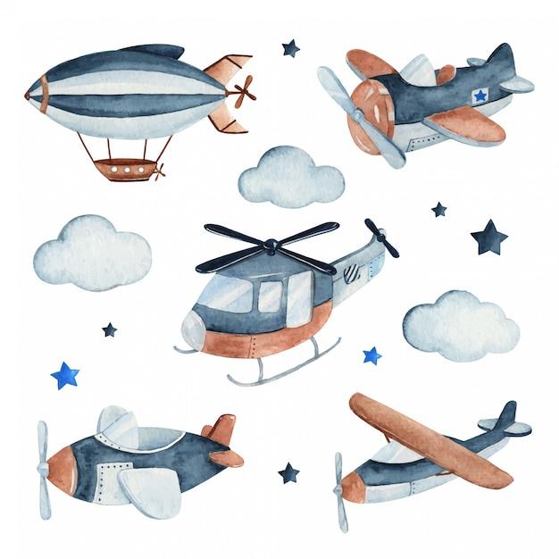 Aquarell-setillustration eines niedlichen und entzückenden flugzeugs komplett mit flugzeugen, hubschrauber und zeppelin. Premium Vektoren