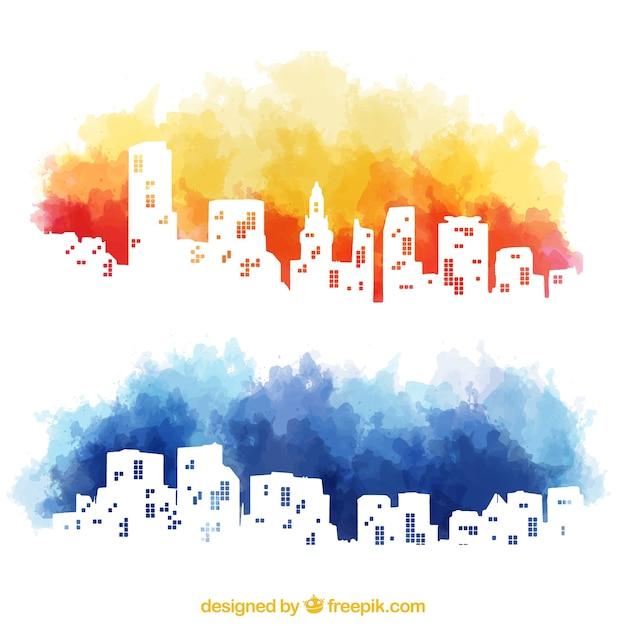 Aquarell skyline der stadt Kostenlosen Vektoren