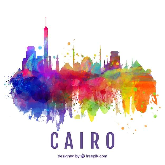 Aquarell Skyline von Kairo, Ägypten Kostenlose Vektoren