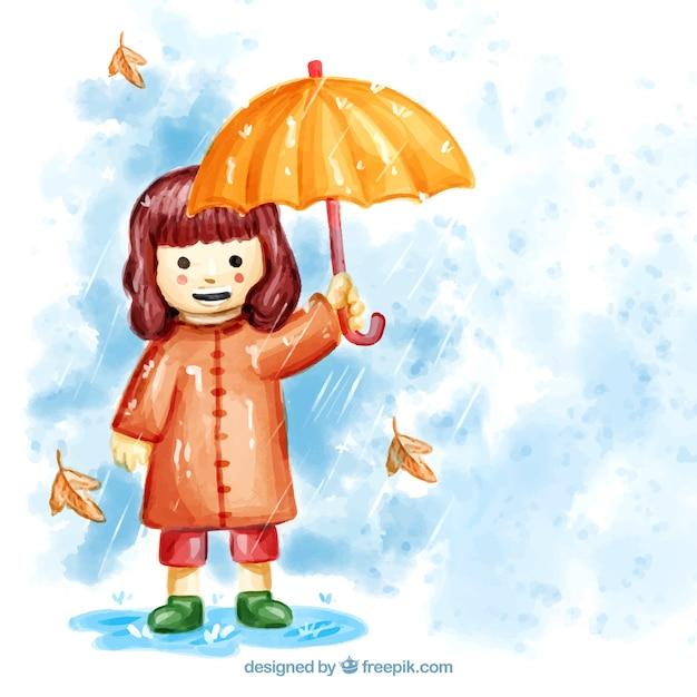 aquarellsmileymädchen mit regenschirm  kostenlose vektor