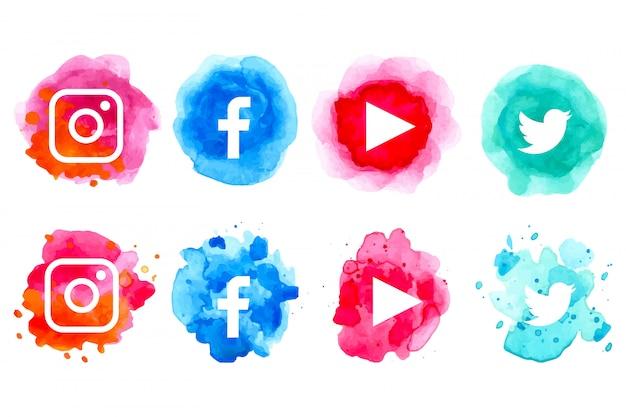 Aquarell-social-media-icon-sammlung Premium Vektoren